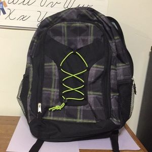 Plaid backpack, NEW, green and black